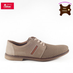 Pantofi barbati piele naturala RIEKER bej (Marime: 45)