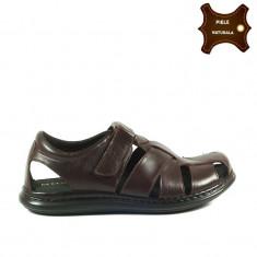 Sandale barbati piele naturala LARRY maron (Marime: 42)