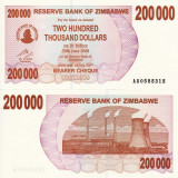 ZIMBABWE 200.000 dollars 2007 BEARER CHEQUE UNC!!! - bancnota africa