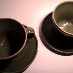 Set 2 cani ceai/cafea ceramica verde cu farfurii