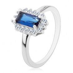 Inel placat cu rodiu, argint 925, zirconiu albastru dreptunghiular, margine din zirconiu transparent - Inel argint