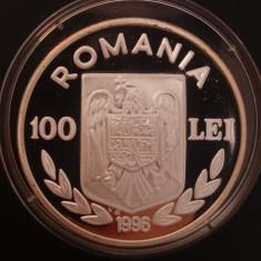 100 lei 1996 - Euro 1996 - Argint - PROOF - Moneda Romania
