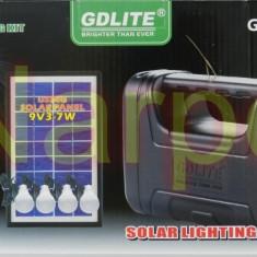 Kit Solar panou 7W GD8038 + USB + Lanterna + 4 becuri led + Acumulator 6V4A - Panouri solare