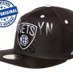 Sapca Adidas Brooklyn Nets Flat Brim - sapca originala - fullcap flat brim - Sapca Barbati Adidas, Marime: S, M, Culoare: Negru