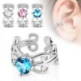 Piercing fals pentru ureche cu suprafaţa placată cu rodiu, ornamente, zirconiu - Piercing ureche