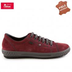 Pantofi dama piele naturala RIEKER M6104-36 bordo velur (Marime: 39) - Pantof dama
