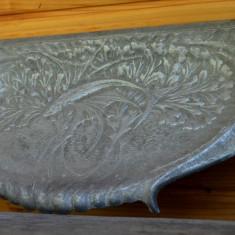 Tava masiva din aluminiu pentru soba sau semineu, cenusar in stil Art - Nouveau - Metal/Fonta, Ornamentale
