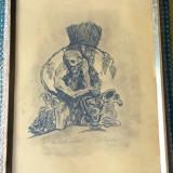 Grafica - Ea vinul-inimii - tus pe hartie - semnat Marcel Chirnoaga - Pictor roman, Scene gen, Cerneala, Altul