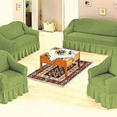 Set huse canapea 3 locuri, canapea 2 locuri si 1 fotoliu 3+2+1 Culoare Verde - Cuvertura