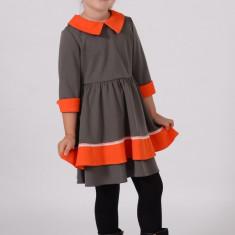 Rochie tricotate - Rochie din tricot Gri cu contrast Portocaliu model 1450 3 ani Art Limited