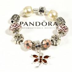 Bratara din argint - Bratara PANDORA cu charmuri bej maro + pandantiv libelula cristal