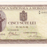 3.Bancnota 500 lei 19 XI 1940, UNC. filigran VERTICAL, An: 1940