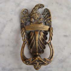 Metal/Fonta, Ornamentale - Ornament vechi, bronz masiv, sec XIX (1800 ...) ciocan de usa, vultur/vintage