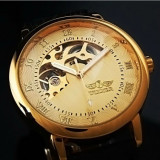 Ceas barbatesc, Lux - elegant, Mecanic-Automatic, Inox, Piele, Calendar perpetuu - Ceas Superb WINNER MECANIC FULL Automatic Skeleton Barbati Auriu Argintiu Negru