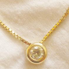 Pandantiv aur - *** Lant+medalion diamant 0.5 ct aur 14 K ** **