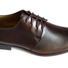 Pantofi barbati lux - eleganti din piele naturala maro cu siret - Model Benito