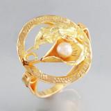 Inel aur 18k cu perla akoya deosebita, Culoare: Galben