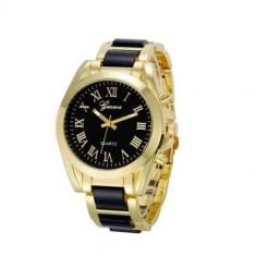 Ceas de Dama Geneva - Ceas dama auriu gold GENEVA curea metalica insertii negre + cutie simpla cadou