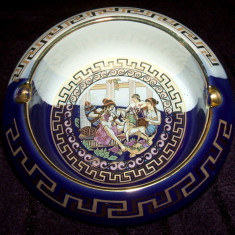 Scrumiera ceramica aurita, handmade de lux, stantata aur 24k Grecia - Arta Ceramica