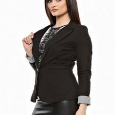 Sacou dama - Sacou clasic cu manseta intoarsa, bumbac, culoare negru