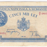1)Bancnota 5000 lei 2 mai 1944 VF, portret Traian+Decebal, An: 1944