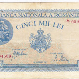 1)Bancnota 5000 lei 28 septembrie 1943 VF+ portret Traian+Decebal, An: 1943