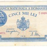 3)Bancnota 5000 lei 2 mai 1944 VF, portret Traian+Decebal, An: 1944