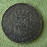 5 pesetas 1870 SPANIA - Argint