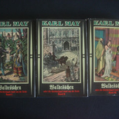 KARL MAY - WALDROSCHEN ODER DIE RACHERJAGD RUND UM DIE ERDE 3 volume {germana} - Carte Literatura Germana