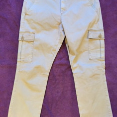 Pantaloni dama SISLEY, mas. 44, Marime: Alta, Culoare: Bej, Trei-sferturi, Bumbac