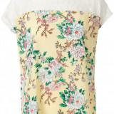Bluza cu dantela Vero Moda -10153898 galben floral - Bluza dama Vero Moda, Marime: S, L, Culoare: Multicolor