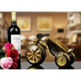 Decoratiuni - Suport de vin cu ceas si termometru in forma de motocicleta
