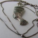 Lant si medalion pandantiv vechi din argint NEFERTITI - Pandantiv argint