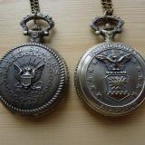 Ceas buzunar capac din bronz MILITARY sigla US Navy - Ceas de Buzunar