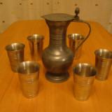 Lot 6 pahare si carafa cu capac din zinc ,marcate ,aduse din Germania