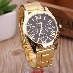 Ceas dama auriu gold GENEVA curea metalica model clasic + cutie simpla cadou