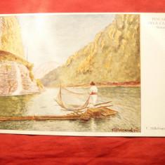 Ilustrata - Pescari la Cazane - Banat-dupa pictura Hillebrand 1915 - Carte Postala Banat 1904-1918, Necirculata, Printata