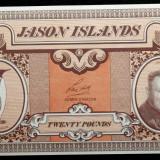 Bancnota Straine, America Centrala si de Sud, An: 1979 - JASON ISLANDS (Falkland Islands) 20 POUNDS 1979 UNC **