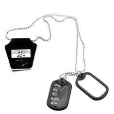 Dog Tag Dublu cu rama silicon - Placute ID militare - US.