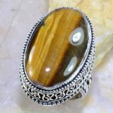 Superb inel cu OCHI DE TIGRU suflat cu argint 925. Marimea 8.5 - Inel argint