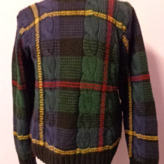 Pulover multicolor hand knit Ralph Lauren 100% original - Pulover barbati, Marime: M, La baza gatului, Lana