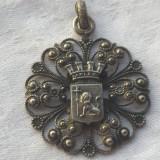 Medalion art nouveau 1900 cu blazon Regal Leu executat manual Finut de efect