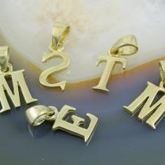 Pandantiv model Litera, din Argint 925 placat cu Aur 18K - Pandantiv argint