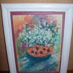 Cos cu flori de camp, tempera pe hartie semnata indescifrabil - Pictor roman, Impresionism