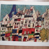 LITOGRAFIE Harry Guttman- Montmartre - Pictor strain, Abstract, Cerneala