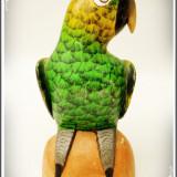 STATUETĂ VECHE SCULPTATĂ DIN LEMN DE BALSA ȘI PICTATĂ ÎN ECUADOR - PAPAGAL! - Sculptura, Animale, America Latina