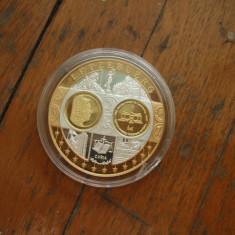 Moneda medalie Luxemburg, argint 999, placata cu aur, Europa, An: 2002