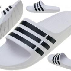 Slapi, Papuci Adidas DURAMO Slide Adilette, Autentici, Noi, Sigilati !! - Papuci barbati Adidas, Marime: 40.5, 42, 43, 44.5, 46, Culoare: Alb