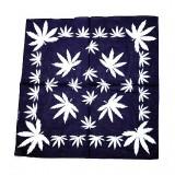 Bandana frunze cannabis mari albe pe albastru