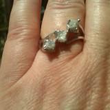 Inel argint diamante naturale brute congo cubes peste 1 carat